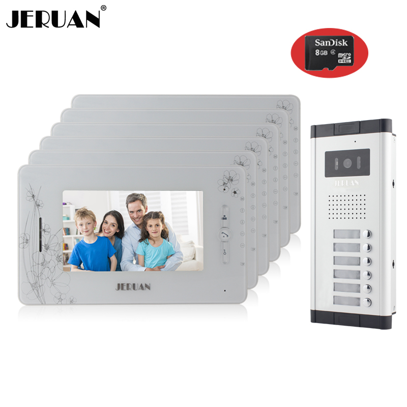 JERUAN Brand New Apartment Intercom 7`` LCD Video Door Phone Doorbell intercom System for 6 house 1V6+8GB card+free shipping new apartment doorbell intercom 7 lcd touch key video door phone intercom system 1camera 10 monitors for 10 house free shipping