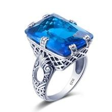 Новый Роскошный Женщины Кольца Синий Кристалл Ювелирные Изделия Выдалбливают Дизайн подлинная 925 Серебряные Кольца для Женщин Мода Платье Ювелирные Изделия