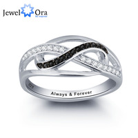 Personalized Infinite Love Promise Ring Black And White CZ 925 Sterling Silver Jewelry Valentine S Day