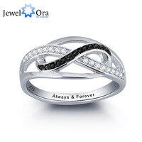 Spersonalizowane InfinityLove Obietnica Pierścień Czarny i Biały CZ 925 Sterling Silver Biżuteria Walentynki Prezent (Silveren SI1785)