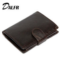 DALFR Genuine Leather Wallets for Men Card Holder Male Short Wallet Cowhide Hasip Style Fashion Money Coin Purse for Men