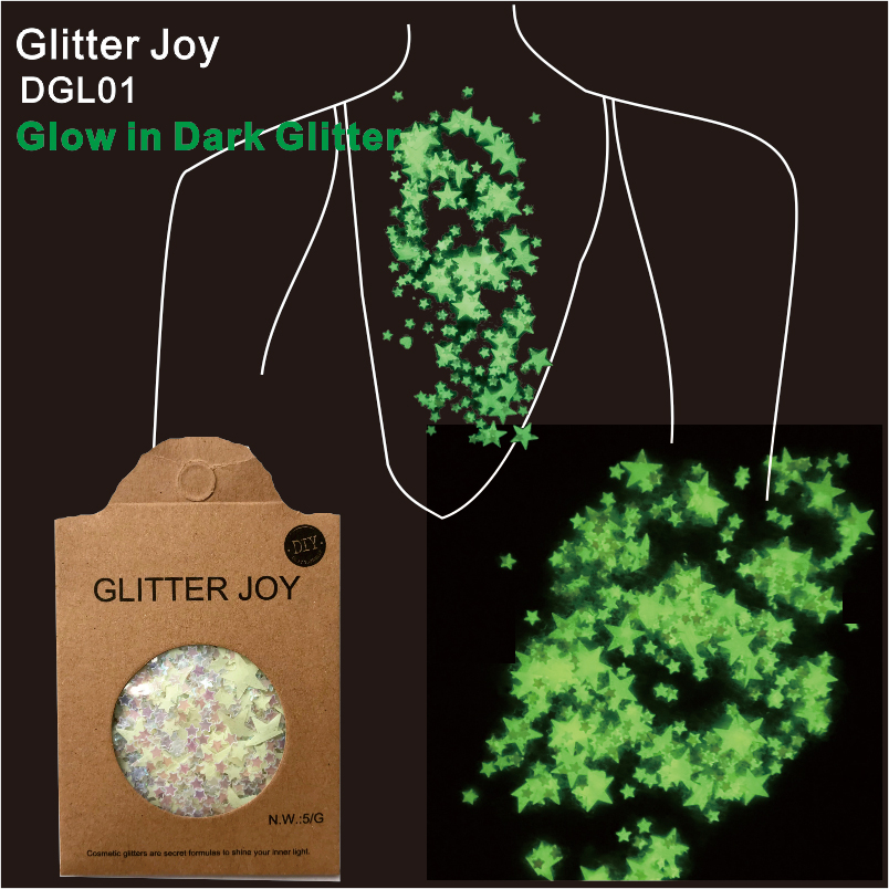 DGL01  One Pack Of Star Shape Glow In Dark Luminous Face And Body Cosmetic Glitter Sequins  Party Make Up  Body Carnival Decor