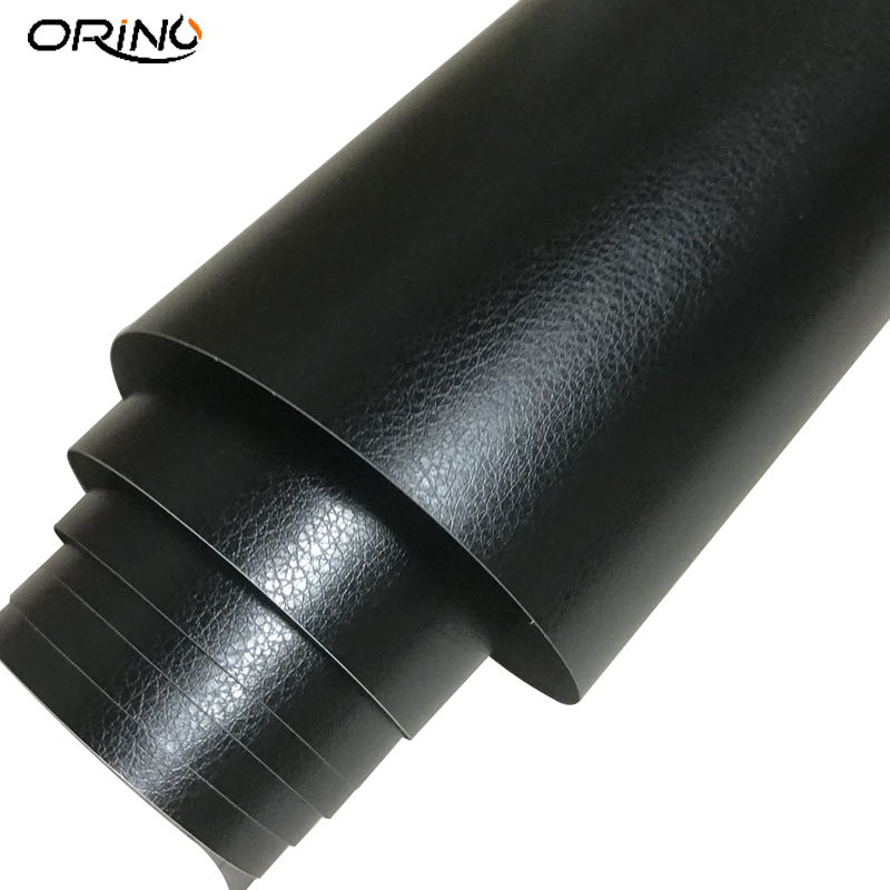 Black Leather Pattern PVC Adhesive Vinyl Wrap Film Sticker For Auto Car Body Internal Decoration Vinyl Wrap 10/20/30/40/50X152CM