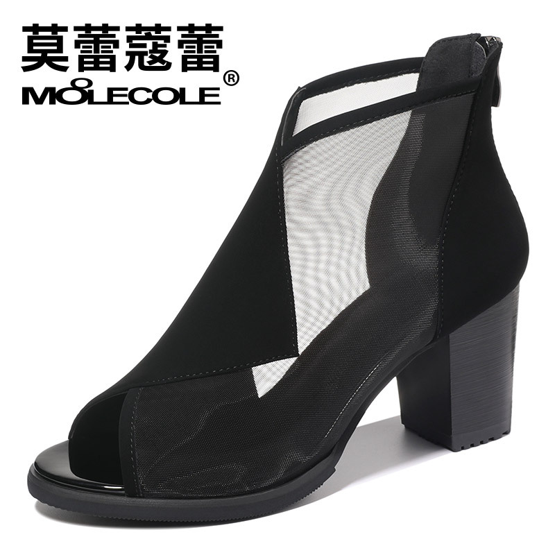 MOOLECOLE 2018 New Summer New Elegant Brand Mesh Sandals Zipper Decoration Peep Toe Shoes Woman S Heels Size 35 40 Footwear 8209