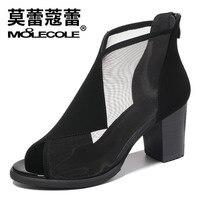 MOOLECOLE 2018 New Summer New Elegant Brand Mesh Sandals Zipper Decoration Peep Toe Shoes Woman S Heels Size 35 40 Footwear 8209