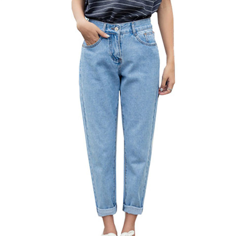 Cuhakci Summer Hot Pencil Pants Vintage High Waist Jeans New Womens Pants Full Length Pants Loose Cowboy Pants Blue Denim Jeans