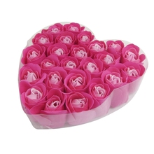 24 Pcs Red rose Scented Bath Soap Rose Petal in Heart Box семена rose heart 988