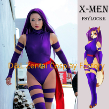 Free Shipping DHL 2016 Sexy X- Men Psylocke Elizabeth Betsy Braddock Costume Purple Shiny Metallic Halloween Cosplay Costume