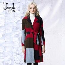 JUNGLE ME 2017 Spring Autumn New Vintage Women Coats Plaid Patchwork Long Cardigan V Collar Raglan Sleeve Belt Slim Wool Coat