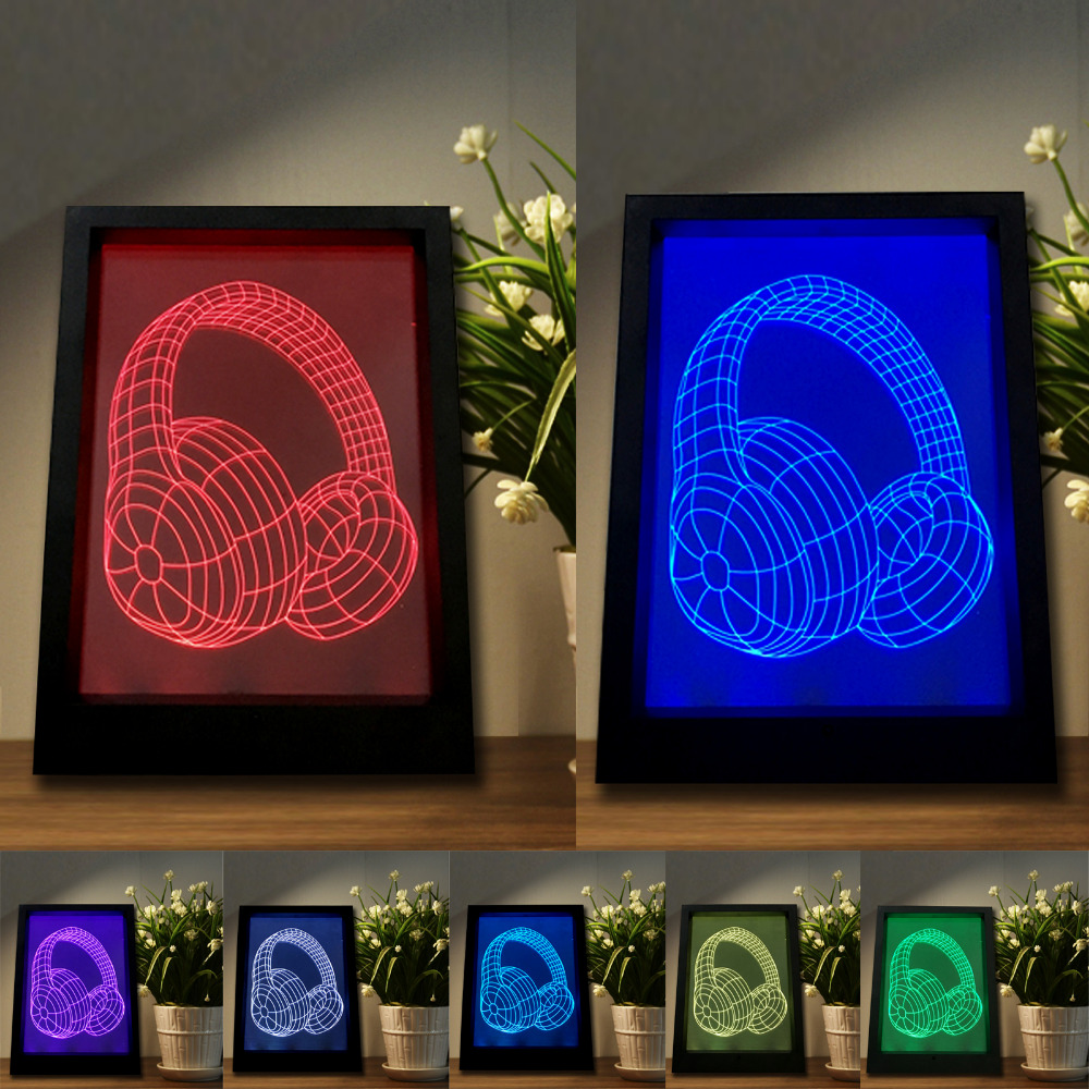 Magic Colorful Gradient Headphone <font><b>Earphone</b></font> 3D Night Light LED Table Desk Bedroom Bedside Lamp Child Kids Xmas Birthday Toy Gifts