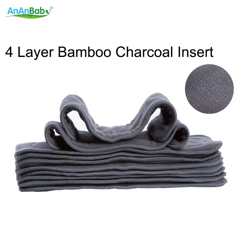 Ananbaby 4 Layer Bamboo Charcoal Insert Cloth Diapers Inserts Nappy Changing Mat Baby Diapers Reusable Diaper Changing Pad