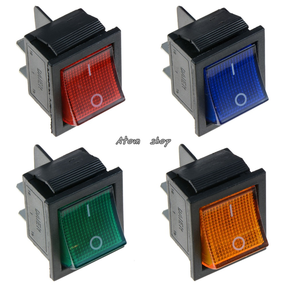 1PCS Illuminated Large On-Off Rocker Switch 12V DPST - Red Blue Green Yellow 20A 125VAC 16A 250VAC 20 pcs 12v 20a amps on off 3 position terminal round rocker led toggle switch blue