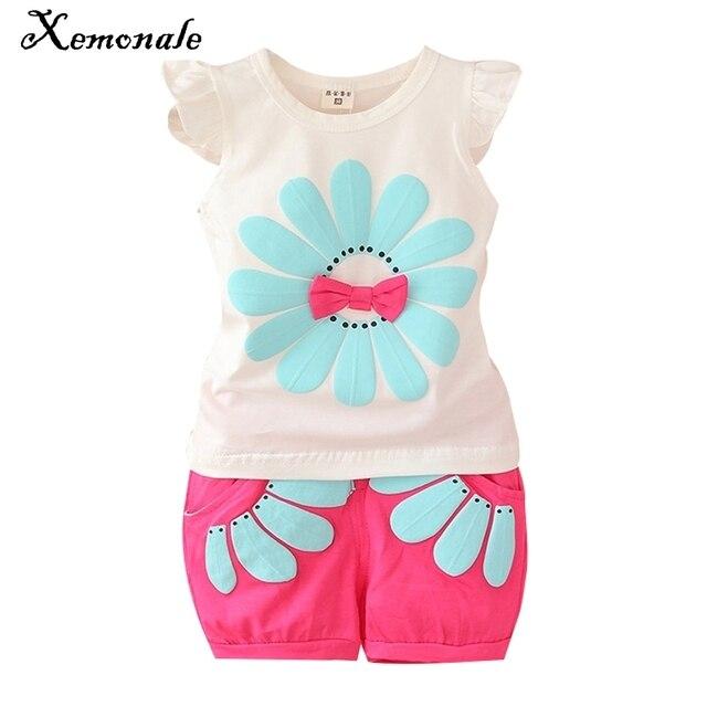 bc5466e6f9 Xemonale Infantil roupa da criança crianças conjuntos de roupas meninas do  bebê verão flor 2 pcs