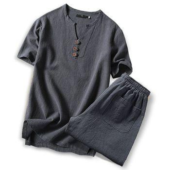 Large size men t shirt set M-7xl 8XL 9XL t shirt Linen long sleeve t shirts casual v-neck two-piece suit t shirts sets for 150kg