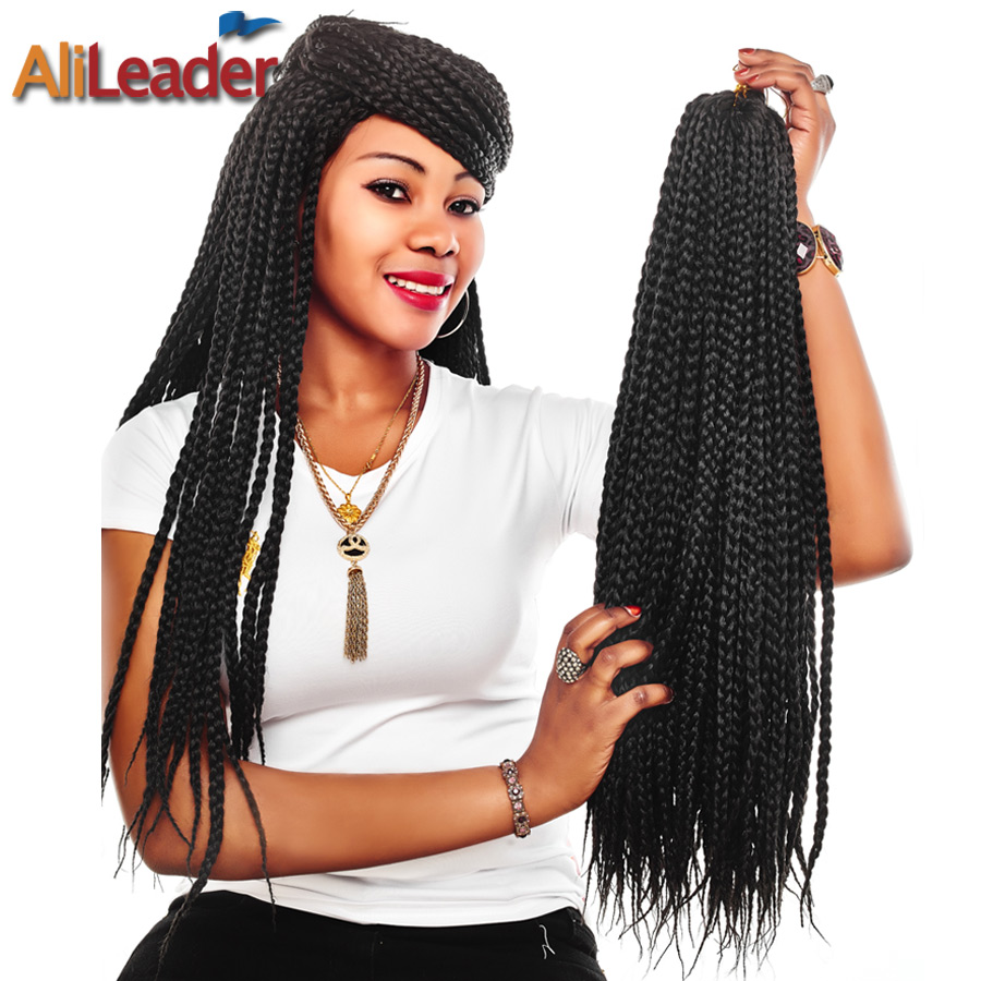AliLeader Crochet Box Braids 12-30 inch Short Medium Long Synthetic Hair Heat Resist Pre Braided Hair Extensions 1-10Pcs/Lot plaid