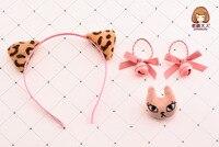 Lovdarling 1セットファッションかわいい猫耳ヘアバンド動物猫ヘアピンヘアクリップ髪ネクタイ王女headwareアクセサリーギフ