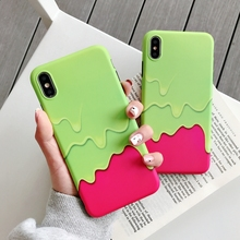 Fashion Ice Cream Splice Color Pattern Phone Case For On iPhone X XR XS Max Case For iPhone 6 6S 7 8 Plus Soft Cover IMD Case