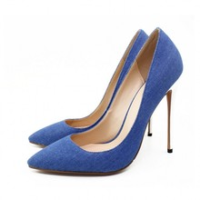 New Fashion Sexy Women's Singles Shoes Pumps Black Pointed Toe Heels Shallow Mouth Work Denim High Heel Women Shoes C026A цена 2017