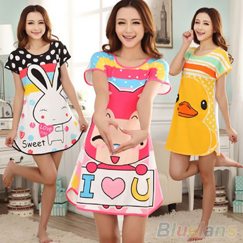 Hot Great Cute Womens Cartoon Polka Dot Sleepwear Sleepshirts Short Sleeve Sleepshirt 2MY2 5PYN BDV8
