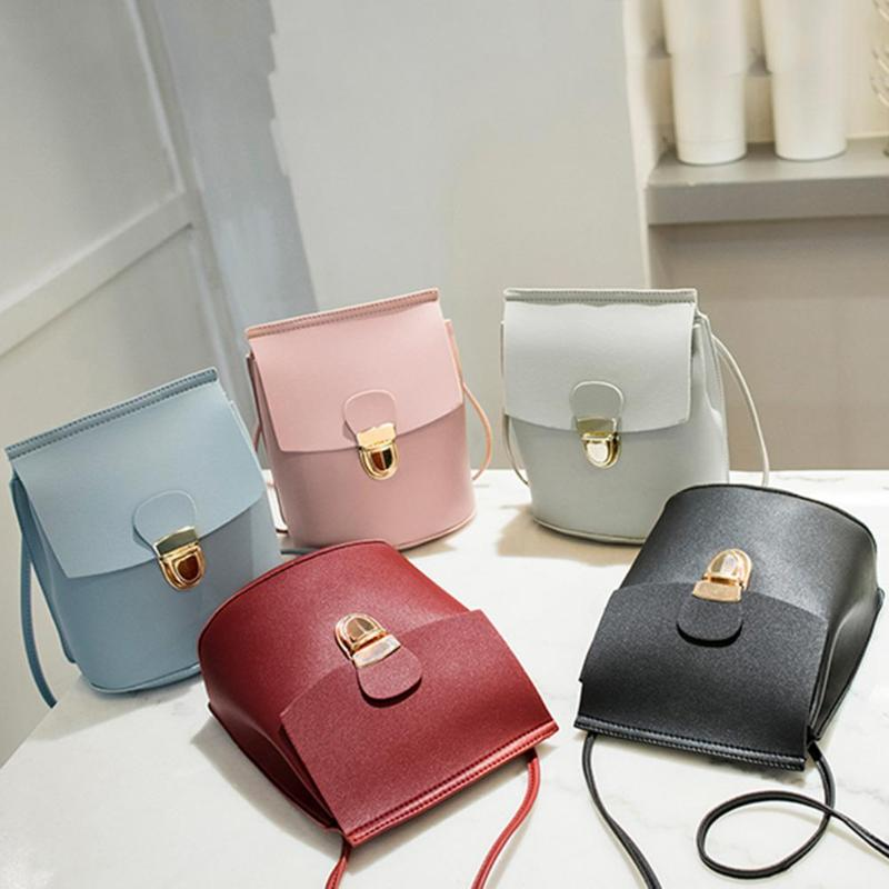 5 Candy Colors Casual Cute Women Girls PU Leather Mini Shoulder Bucket Coin Phone Purse Messenger Bags Easy To Take