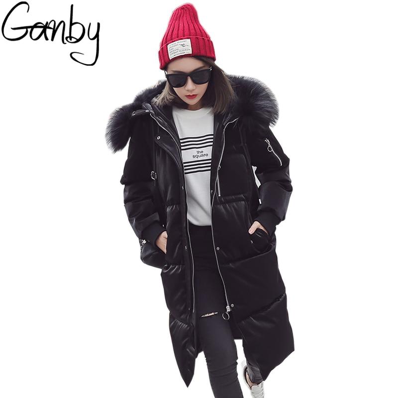 Women Winter Wool Collar Jackets Long Warm Coat Metal Gloss Bread Style 2017 Ladies Bio Down Parka Winterjas Dames Abrigos Mujer loose