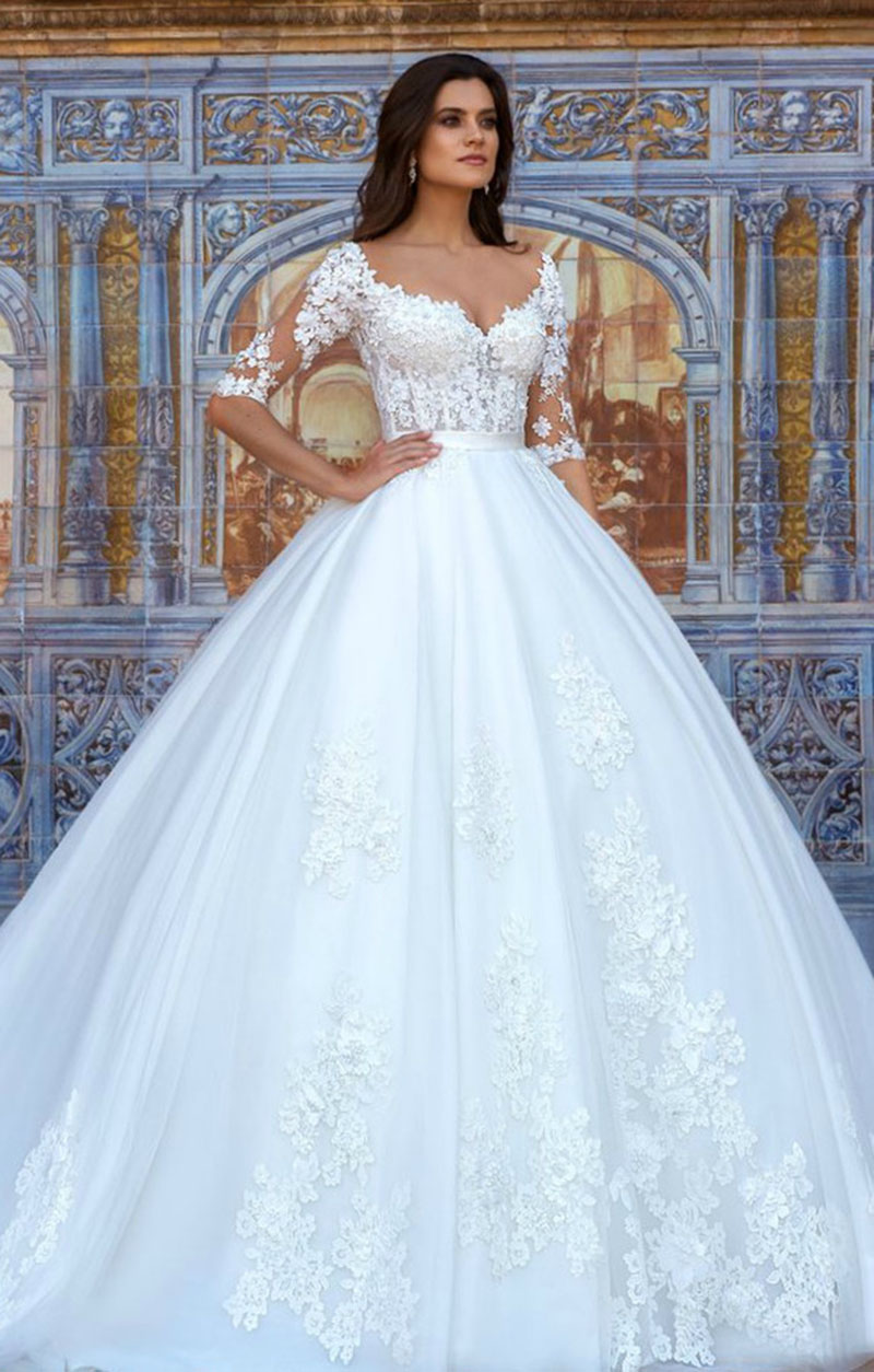Eightale Half Sleeve Wedding Dresses 2019 O-Neck Boho Bride Dresses Appliques Lace Tulle Princess Wedding Gowns Free Shipping