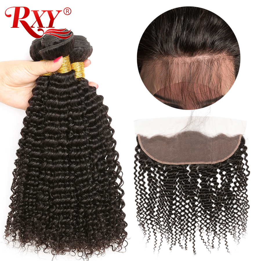 RXY Remy Hair Bundles Malaysian Kinky Curly Human Hair Bundles With Closure Ear To Ear Lace Frontal Closure With Bundles 4Pc/Lot