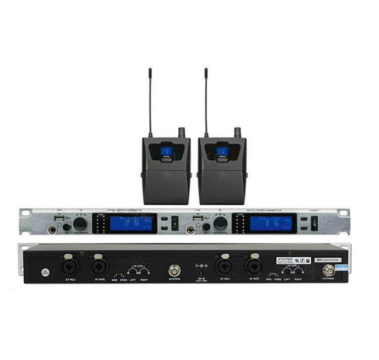 2 Channel Stereo Wireless In ear Monitor System Profession for Stage Performance Church Tour Guide Simultaneous Interpretation stereo system