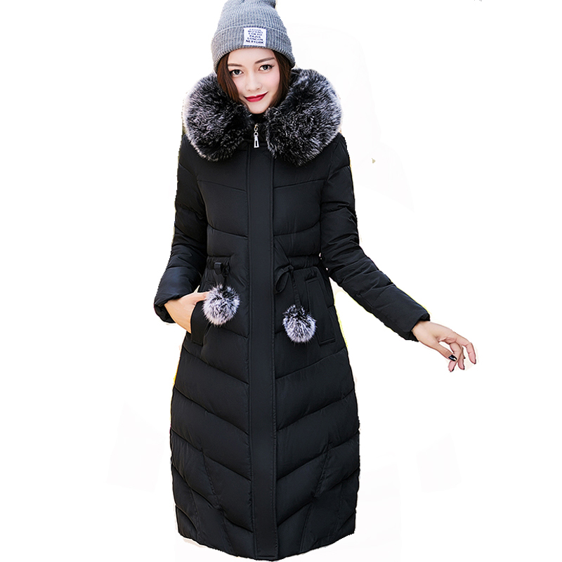 Womens Winter Jackets Slim Thick Coats Down Cotton Jacket Female Long Faux Fur Collar Coat Casual Hooded Female Coats RE0082 high grade big fur collar down cotton winter jacket women hooded coats slim mrs parkas thick long overcoat 2017 casual jackets