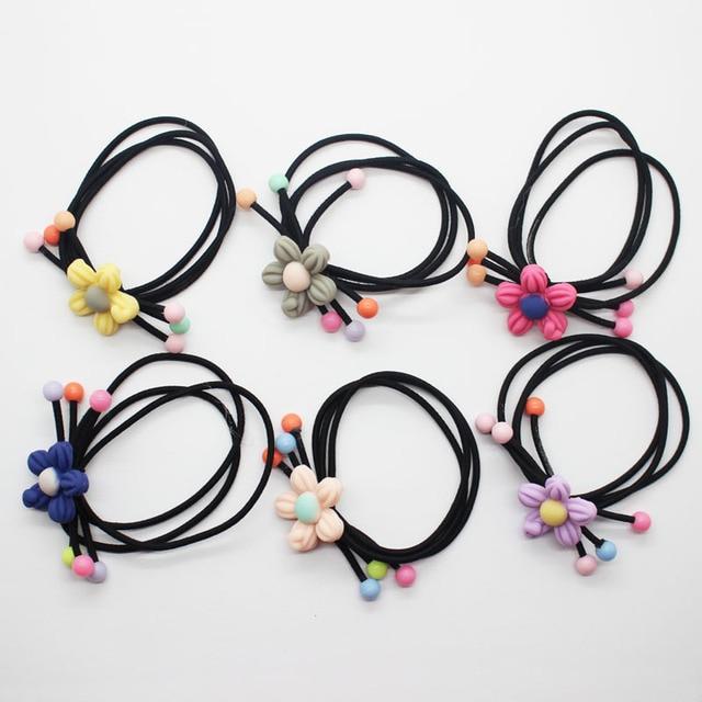 2 Pcs set Floral elastic hair bands girl s fashion flower ponytail holders fancy  hair scrunchies aa48db7cfea
