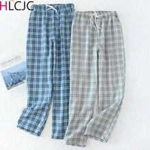 Мужские хлопковые марлевые брюки, клетчатые трикотажные штаны для сна, Мужские пижамные штаны, штаны для сна, пижамные шорты для мужчин, пижама Hombre
