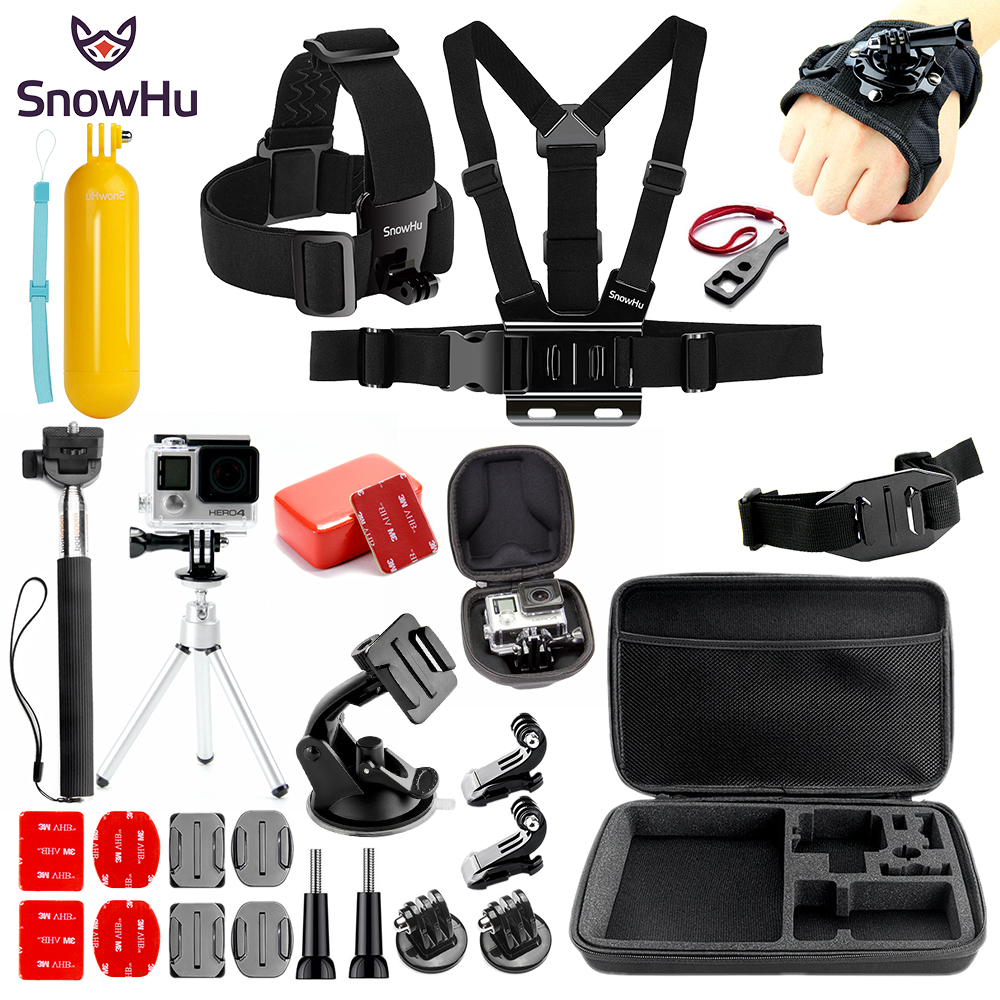 SnowHu For for Gopro Accessories set for go pro hero 6 5 4 3 kit mount for SJCAM for SJ4000 for xiaomi for yi 4k eken h9 SH80V цена