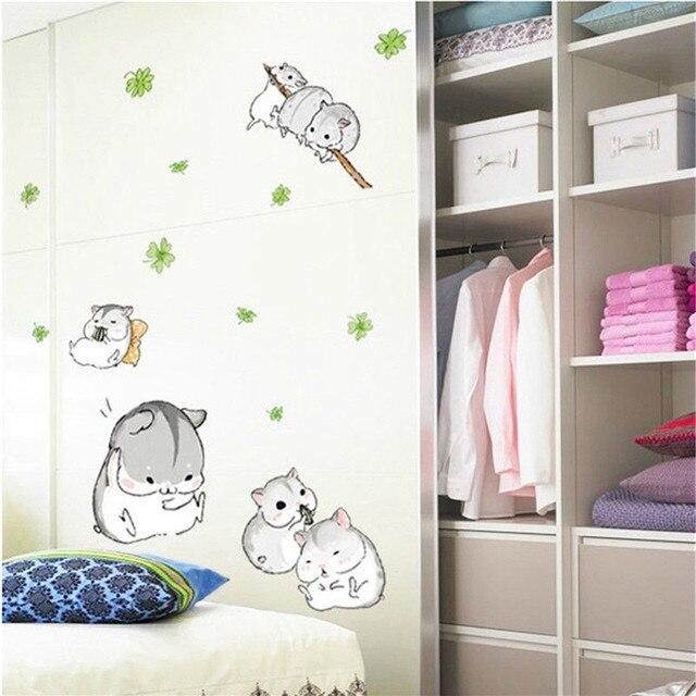 Cute Divertimento Criceti Giocare Wall Sticker per I Bambini Bambini ...