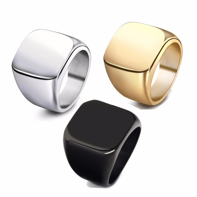Atoztide Optical Plane Can Be Engraved Golden Lettering Pictures Titanium Rings Men And Women Fashion Lovers