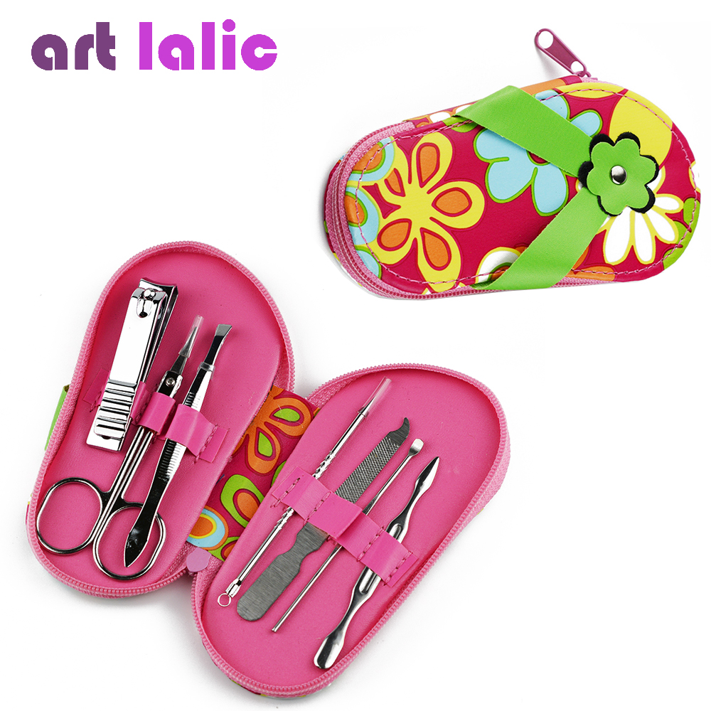 7 pcs slippers shaped Nail Art Manicure Set Nail Care Tools with Mini Finger Nail Cutter Clipper File Scissor Tweezers Color цена