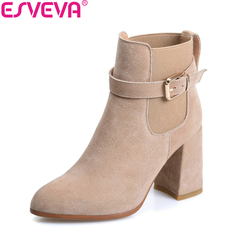ESVEVA 2018 Women Boots High Heels Short Plush Buckle Ankle Boots Square Heels Chunky Pointed Toe Sexy Fashion Shoes Size 34-39 esveva 2018 women boots zippers square high heels appointment warm fur pointed toe ankle boots chunky ladies shoes size 34 39