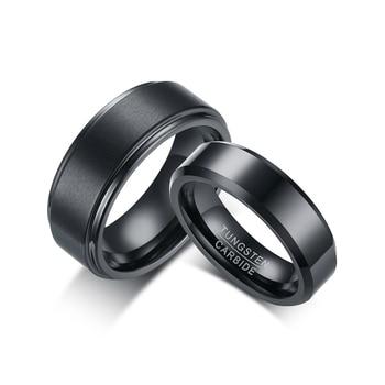 0267a6dedecb Anillo de boda de pareja de carburo de tungsteno negro a la moda para  hombres mujeres