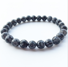 Fashion Natural Snowflake Obsidian Bracelet Stone Energy DIY Jewelry Female Gift Accessories