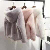 Plus Size 5XL 6XL Winter Casual Women Faux Fur Coat Hooded Pink Fur Coats Mink Fur Jacket Women Furry Hooded Coat