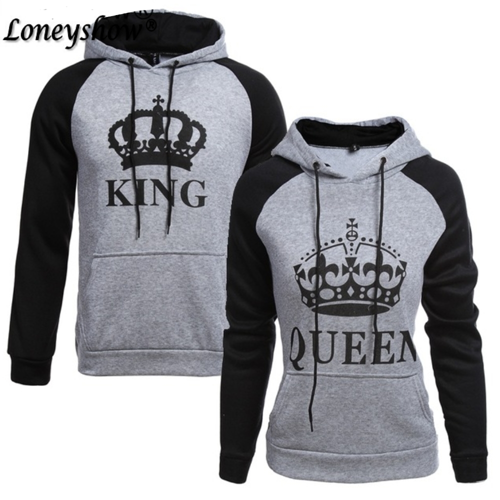 Mode Dames Heren Hoodies King Queen Sweatshirt Liefhebbers Paren Gedrukt Hoodie Sweatshirt met Capuchon Casual Pullovers Trainingspakken