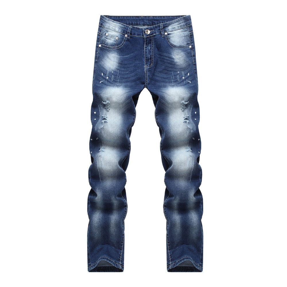 ФОТО Mens Ripped Destroyed Slim Fit Fashion Skinny Denim Jeans Fashion Straight Trousers Biker Jeans For Men