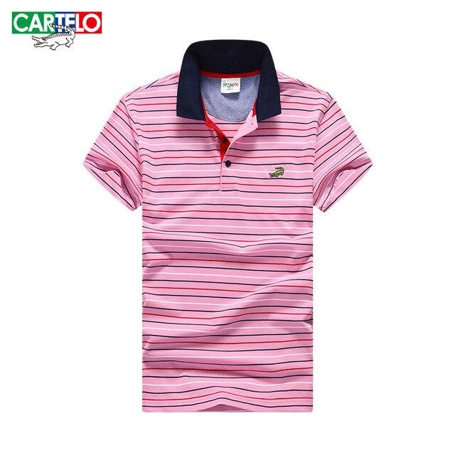 Cartelo brand 2016 summer new fashion stripes Korean business casual Slim men's short-sleeved polo shirt men