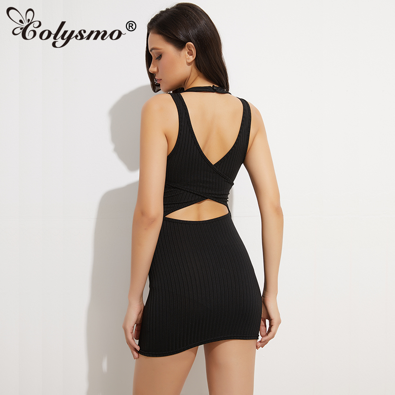 Colysmo Choker Neck Summer šaty Ženy Stripped Halter Bodycon Šaty Sexy Mini Club Party Šaty Black Cut Out Dámské šaty Novinka