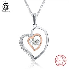 ORSA JEWELS 925 Sterling Silver Women Pendant Necklaces With AAA Zircon Romantic Heart Pendant Silver Wedding Jewelry Gift OSN15 new 925 sterling silver delicate heart shaped ladies pendant trend accessories romantic couple pendants wedding gifts