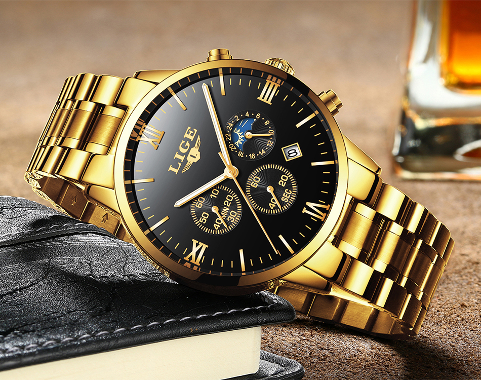 IsMyStore: LIGE Men Watch Chronograph Sport Mens Watches Top Brand Luxury Waterproof Full Steel Quartz Gold Clock Men Relogio Masculino