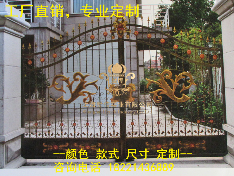 Custom Made Wrought Iron Gates Designs Whole Sale Wrought Iron Gates Metal Gates Steel Gates Hc-g16