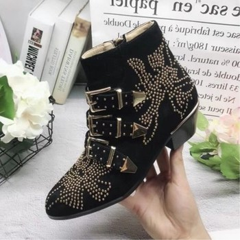 New fashion women's boots pointed thick with rivet belt buckle complex custom shoes full leather fashion rivet thick with Martin
