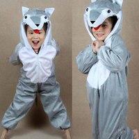 Children Kids Baby Girl Boy Gray Wolf Costume Jumpsuit Cartoon Animal Wolf Performance Children S Day