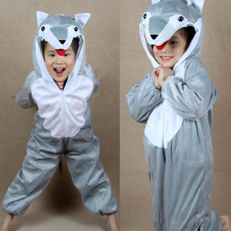 Umorden Barn Barn Baby Girl Boy Grå Wolf Kostym Jumpsuit Cartoon Animal Wolf Performance Barnens dagdräkter Jumpsuits