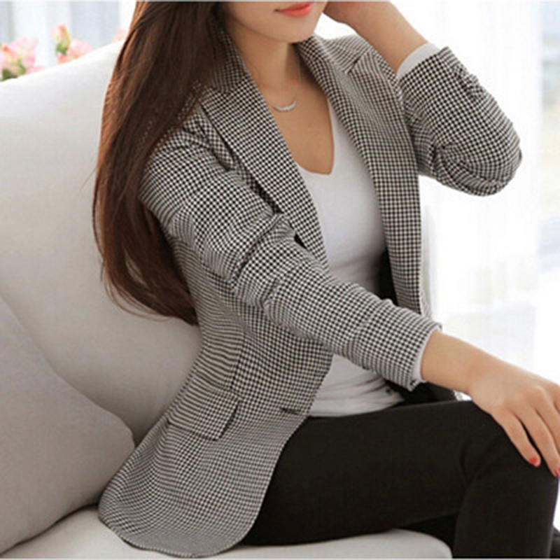 Women Plaid Blazer Elegant Coat Suit Long Sleeve Turn Down Collar Work Wear With Pocket Casual Female Outerwear Plus Size